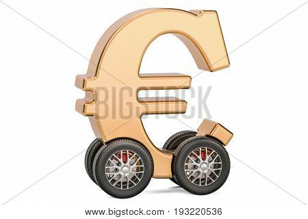 Euro symbol on car wheels 3D rendering isolated on white background
