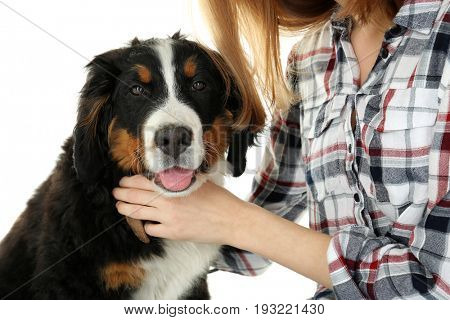 Young woman with cute funny dog on white background, closeup