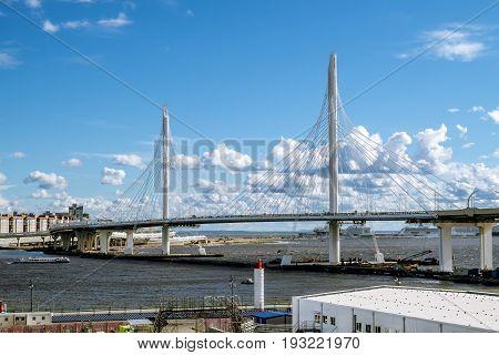 Saint-Petersburg.Russia.22 june 2017. View on ring road and cable bridge in Krestovsky island.