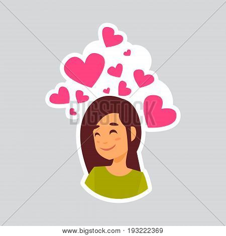 Girl Smiling Over Heart Shape Sticker For Messenger, Label Icon Colorful Logo Vector Illustration