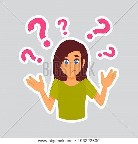 Girl Having Question Sticker For Messenger, Label Icon Colorful Logo Vector Illustration