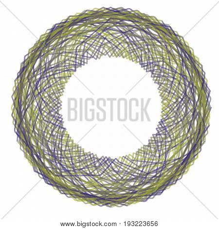 Round digital shape with green and violet curly lines. Circle Guilloch. Circle border frame. Colorful spirograph for prints, designs, wrapping paper, certificates, Christmas garlands, decorations.
