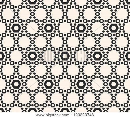 Vector hexagons texture, geometric seamless pattern with perforated hex, delicate hexagonal grid. Abstract monochrome subtle background, repeat tiles. Design element for prints, textile, wrapping, web.