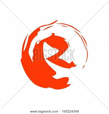 R letter with circle logo design, R with wave logo design
