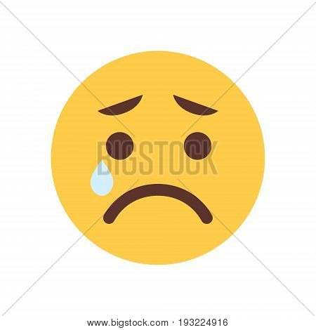 Yellow Cartoon Face Cry Sad Upset Emoji People Emotion Icon Flat Vector Illustration