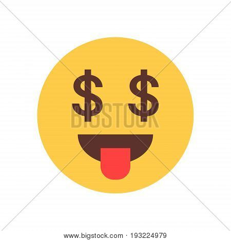 Yellow Smiling Cartoon Face Show Tongue Money Rich Emoji People Emotion Icon Flat Vector Illustration