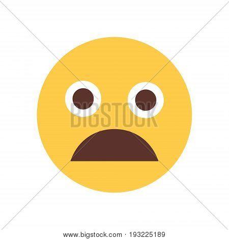 Yellow Cartoon Face Scream Shocked Emoji People Emotion Icon Flat Vector Illustration