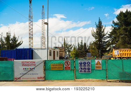 QUITO, ECUADOR - MAY 06 2016: Construction of the trains station, I aquito stop in the mainstreet in NNUU near of Carolina Park, in the city of Quito.