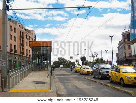 QUITO, ECUADOR - MAY 06 2016: Trafic in mainstreet of the city of Quito.