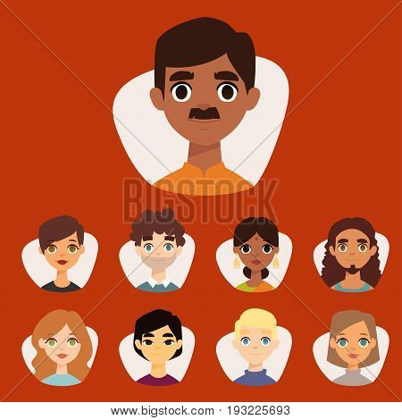 Set of diverse round avatars with facial features different nationalities, clothes and hairstyles people characters vector illustration. Cute cartoon style faces man and woman.