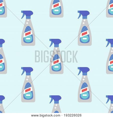 Cleanser bottle chemical housework product seamless pattern and care wash plastic equipment cleaning liquid flat vector illustration. Hygiene domestic container toiletries household tool.