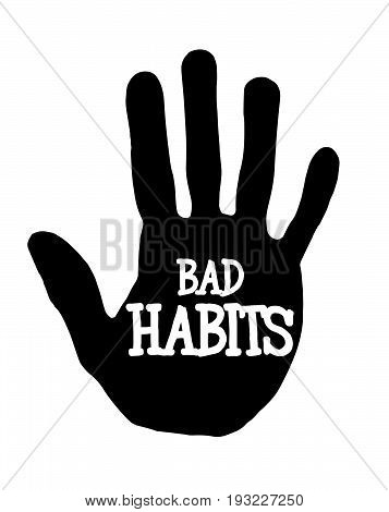 Man handprint isolated on white background showing stop bad habits