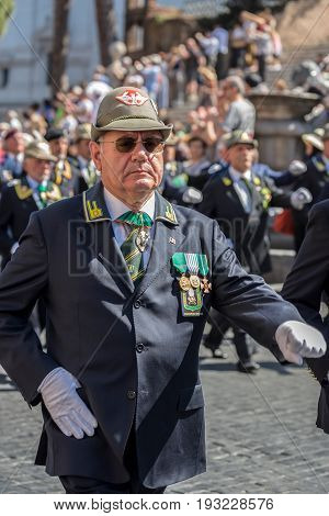ROME ITALY - JUNE 2 2017: Veteran participating at military parade of Italian National Day.