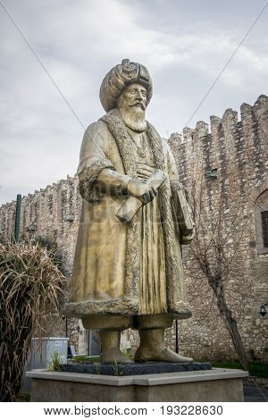Bronze statue of Okuz Mehmet Pasha an Ottoman statesman and military commander of the early 17th century Governor of Egypt 1607-1611 Kusadasi Turkey
