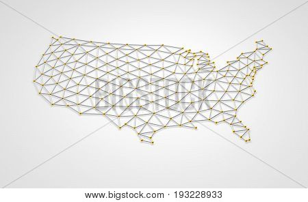 USA 3D map three dimensional shape illustration