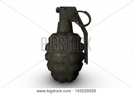 Old Grenade On White Background 3D Illustration