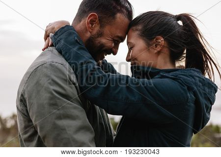 Romantic Young Couple Standing Together Outdoor
