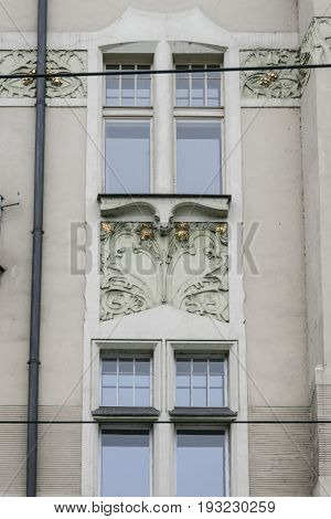 PRAGUE CZECH REPUBLIC 9 OCTOBER 2015 - Art-deco building in Prague Czech Republic