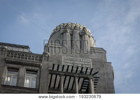 APRAGUE CZECH REPUBLIC 7 OCTOBER 2015 - rt-deco building in Prague Czech Republic the general electric building originally the rca victor building