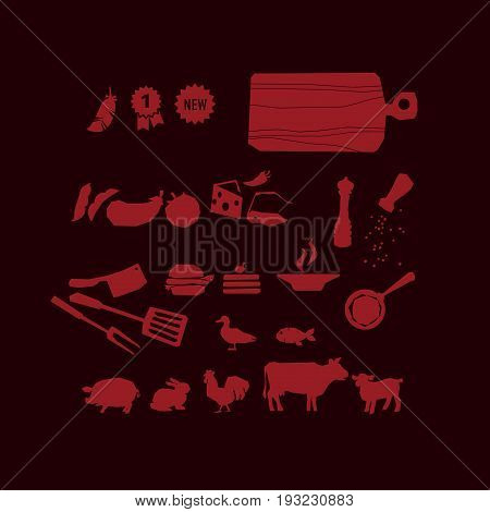 meat restaurant food icon set. vector illustration of meat pictogram and cooking