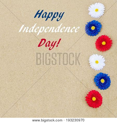 Independence USA background on the sandy beach square format