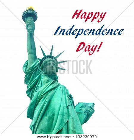 Independence USA background with Statue of Liberty on Liberty Island in New York Harbor in New York City isolated on white square format