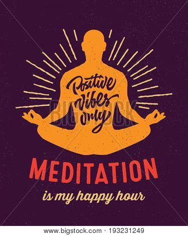 Meditation is my happy hour t-shirt apparel fashion design with silhouette and hand lettering