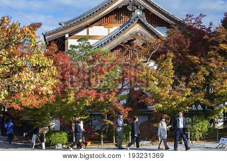 KYOTO JAPAN - 20 NOVEMBER 2015:Visitors tour the beauty of leaves changing color in the Eikando Zenrin-ji temple.The temple very famous for its autumn colors
