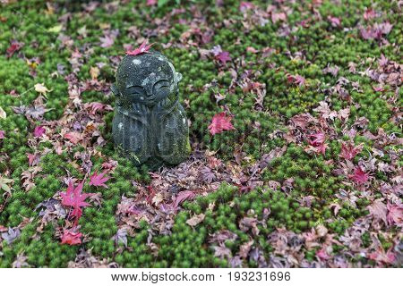 KYOTO JAPAN - 19 NOVEMBER 2015: Stone statues in the moss garden at Zuiganzan Enkouji Temple in Kyoto Japan. The temple has a beautiful garden with a pond and many maple trees.