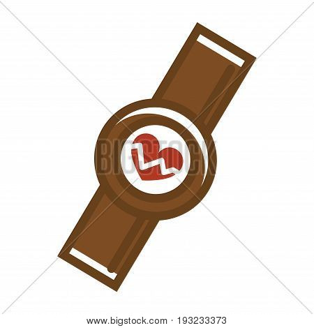 Vector illustration of smartwatch with cardio meter isolated on white.