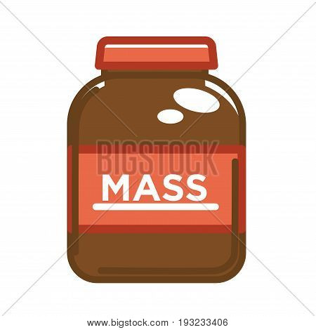 Vector illustration of big brown can with mass word containing sport food.