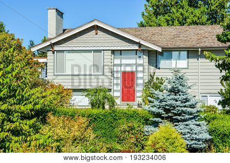 Family house with red entrance door buried in verdure
