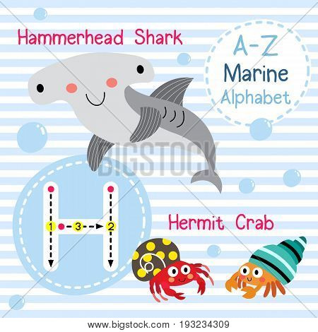 Cute children sea alphabet flashcard of funny marine animal cartoon H letter tracing for kids learning English vocabulary vector illustration.