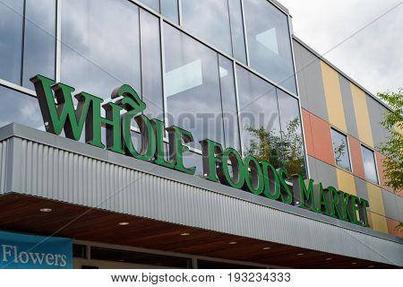 Exterior of Whole Foods Market at Ridge Hill shopping center. Yonkers, New York, Westchester County, USA on June 25, 2017.