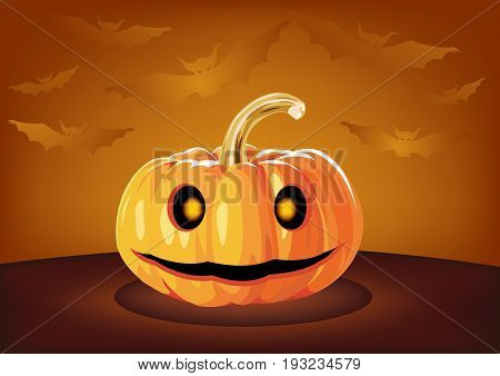 Pumpkin Halloween Smiley Face. Halloween Pumpkins. Jack Lanterns. Holiday Vector Illustration Of Realistic Pumpkin
