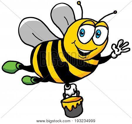 Cartoon Illustration of a Happy Bee in Flight