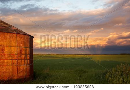 An old weathered red wooden grain bin at sunset under a cloudy sky in a rural agricultural landscape