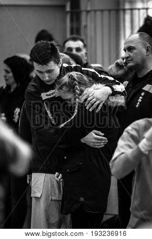 BERLIN - MARCH 18 2017: The bitterness of defeat. Black and white. European championship Kyokushin World Union (KWU) for Children and Youth.