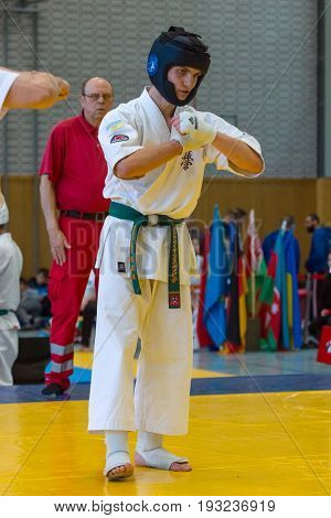 BERLIN - MARCH 18 2017: Fighter on the tatami. European championship Kyokushin World Union (KWU) for Children and Youth.
