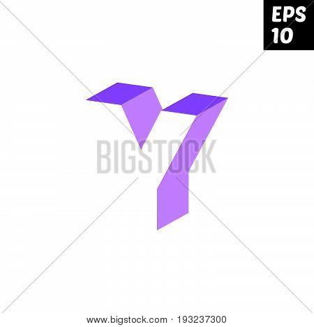 Initial letter Y lowercase logo design template block violet purple