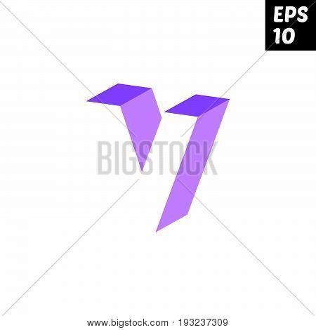 Initial letter V lowercase logo design template block violet purple