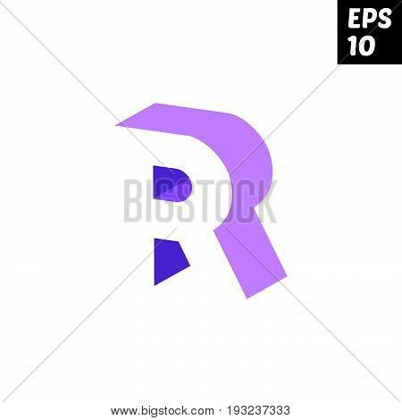 Initial letter R lowercase logo design template block violet purple