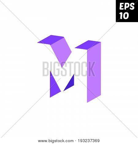Initial letter M lowercase logo design template block violet purple