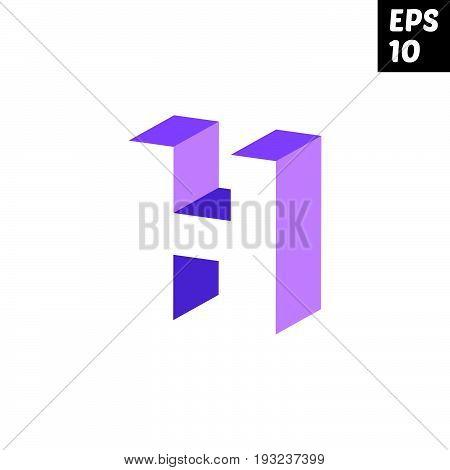 Initial letter H lowercase logo design template block violet purple