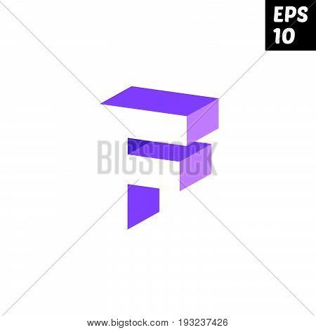 Initial letter F lowercase logo design template block violet purple