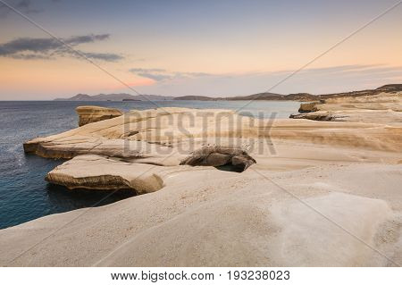 Volcanic rock formations on Sarakiniko beach on Milos island, Greece.