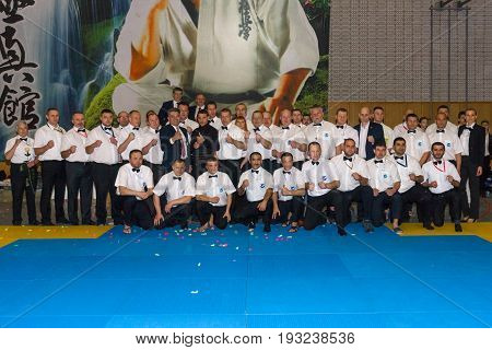 BERLIN - MARCH 18 2017: Refereeing team. European championship Kyokushin World Union (KWU) for Children and Youth.