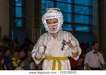 BERLIN - MARCH 18 2017: Fighter on the tatami. Close-up. European championship Kyokushin World Union (KWU) for Children and Youth.