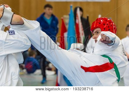 BERLIN - MARCH 18 2017: Fighters on the tatami. Close-up. European championship Kyokushin World Union (KWU) for Children and Youth.