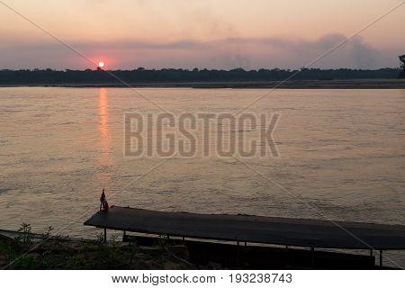 Sunset at Rio Madre Dios river, Peruvian Amazon